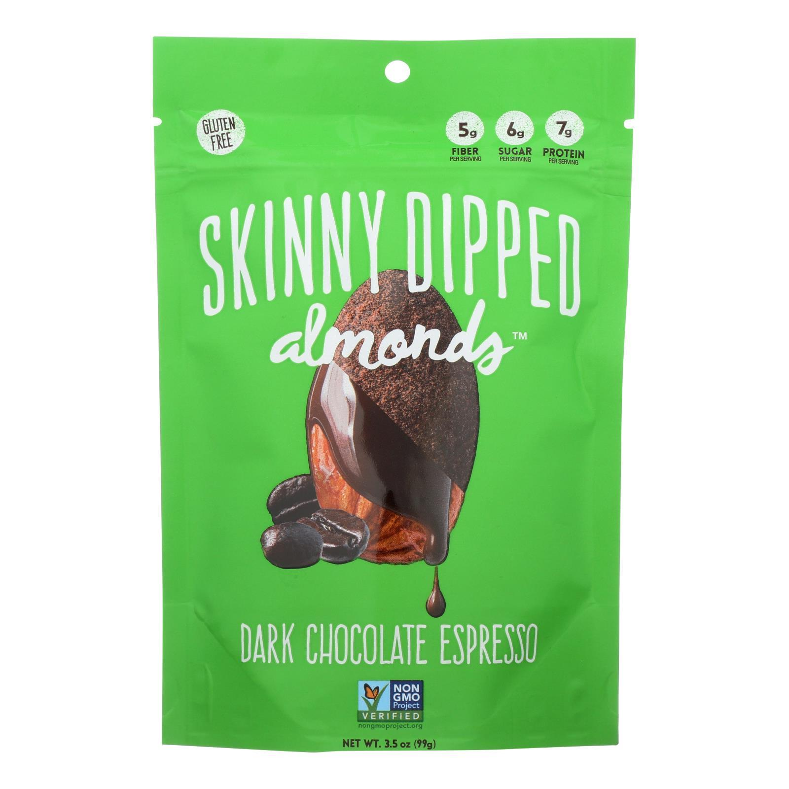 Skinny Dipped Almonds - Dark Chocolate Espresso - Case Of 10 - 3.5 Oz - BeeGreen