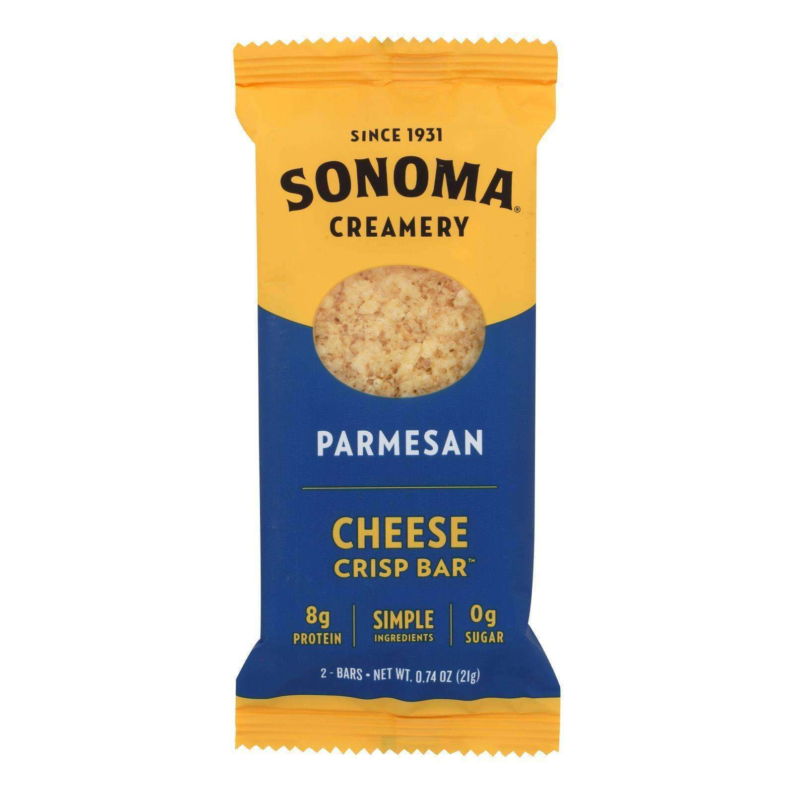 Sonoma Creamery Parmesan Cheese Crisp Bar - Case Of 12 - .74 Oz - BeeGreen