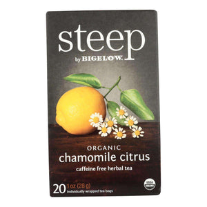 Steep By Bigelow Organic Herbal Tea - Chamomile Citrus - Case Of 6 - 20 Bags - BeeGreen