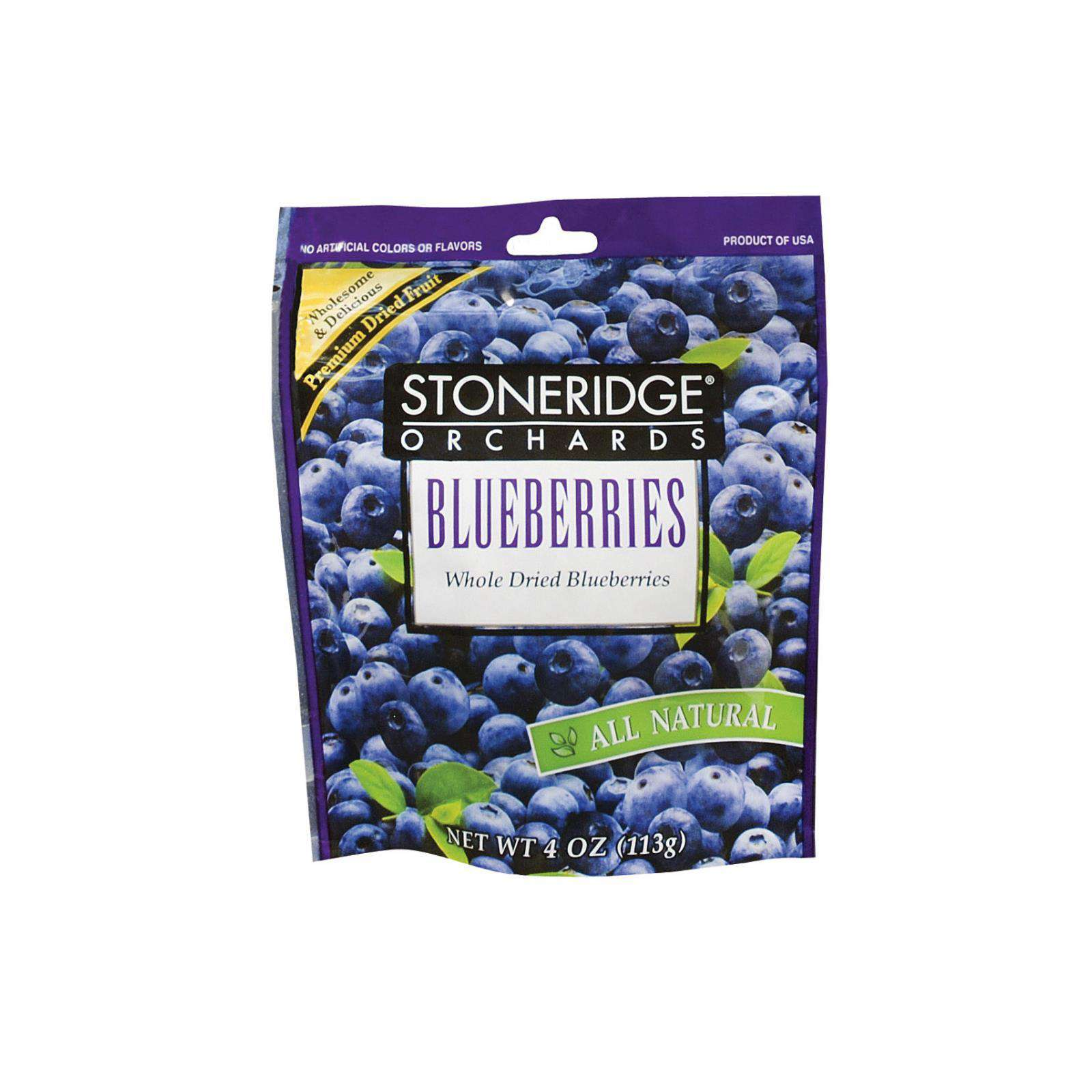 Stoneridge Orchards Whole Dried - Blueberries - Case Of 6 - 4 Oz. - BeeGreen