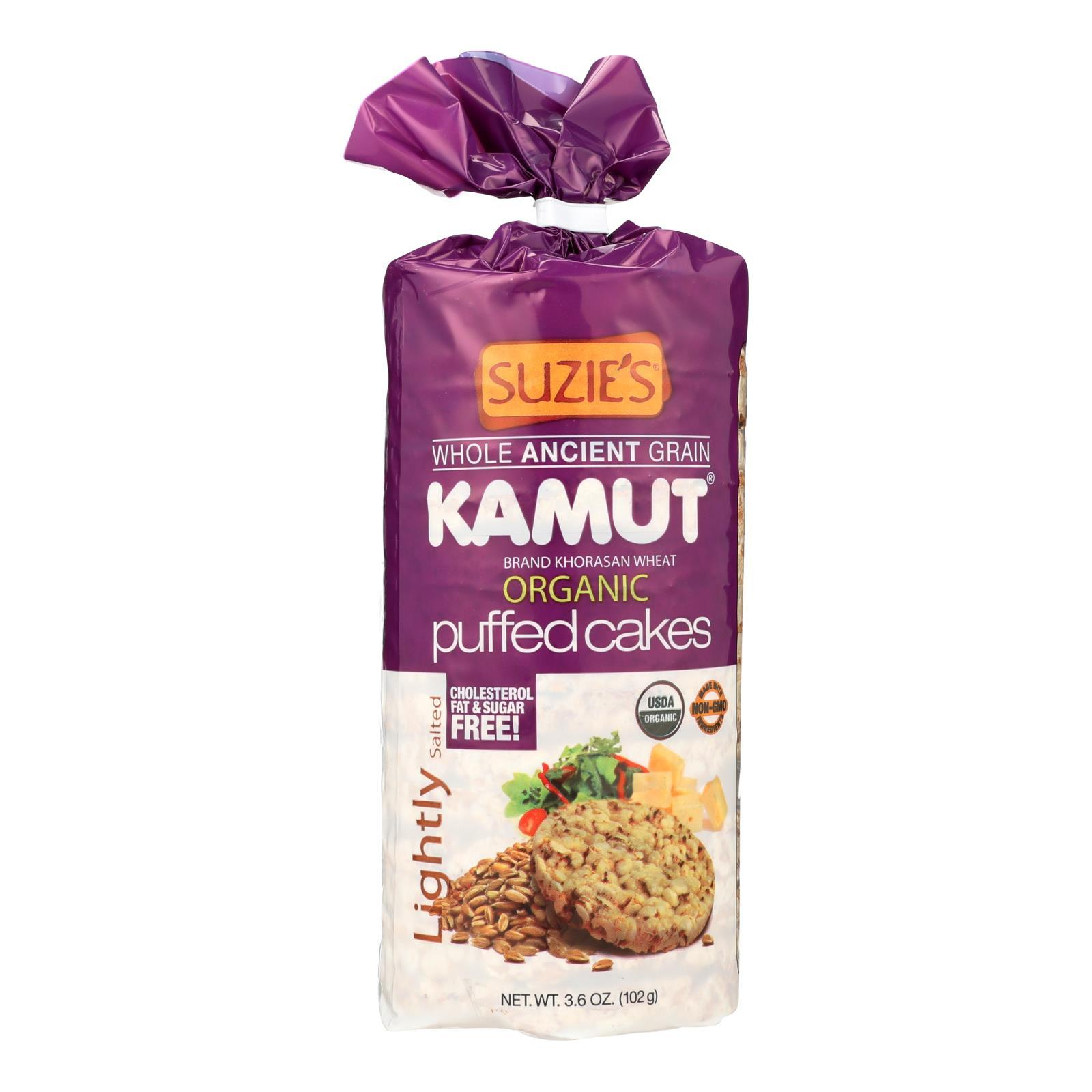 Suzie's Kamut Puffed Cakes - Lightly Salted - Case Of 12 - 3.6 Oz. - BeeGreen