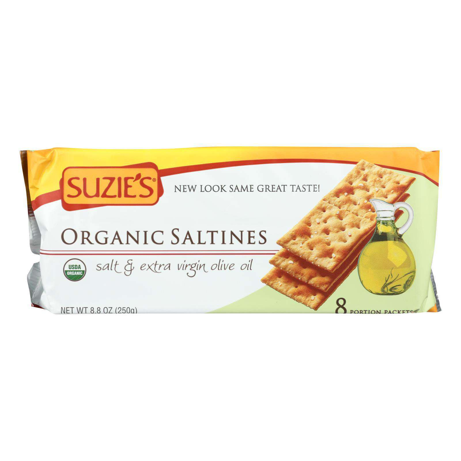 Suzie's Organic Saltines - Salt And Extra Virgin Olive Oil - Case Of 12 - 8.8 Oz. - BeeGreen