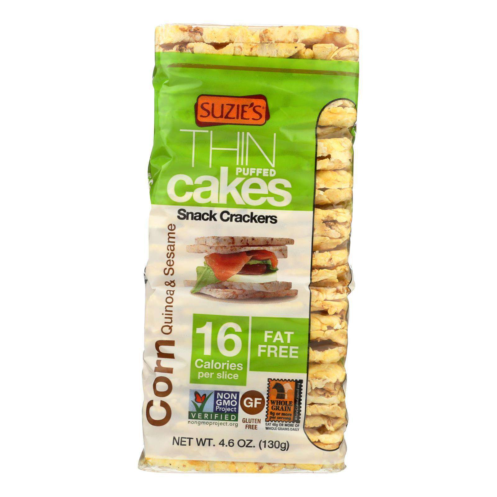 Suzie's Whole Grain Thin Cakes - Corn Quinoa And Sesame - Case Of 12 - 4.6 Oz. - BeeGreen