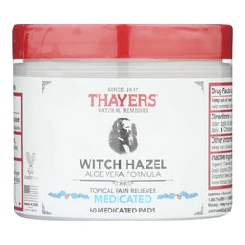 Thayer's Natural Remedies Superhazel Topical Pain Reliever Pads - 1 Each - 60 Pads - BeeGreen