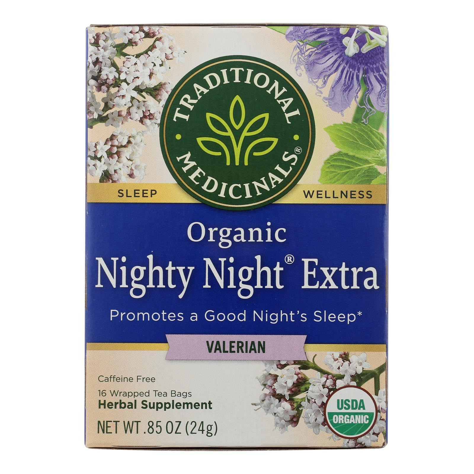 Traditional Medicinals Organic Herbal Tea - Nighty Night Valerian - Case Of 6 - 16 Bags - BeeGreen