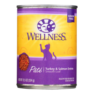 Wellness Pet Products Cat Food - Turkey And Salmon Recipe - Case Of 12 - 12.5 Oz. - BeeGreen