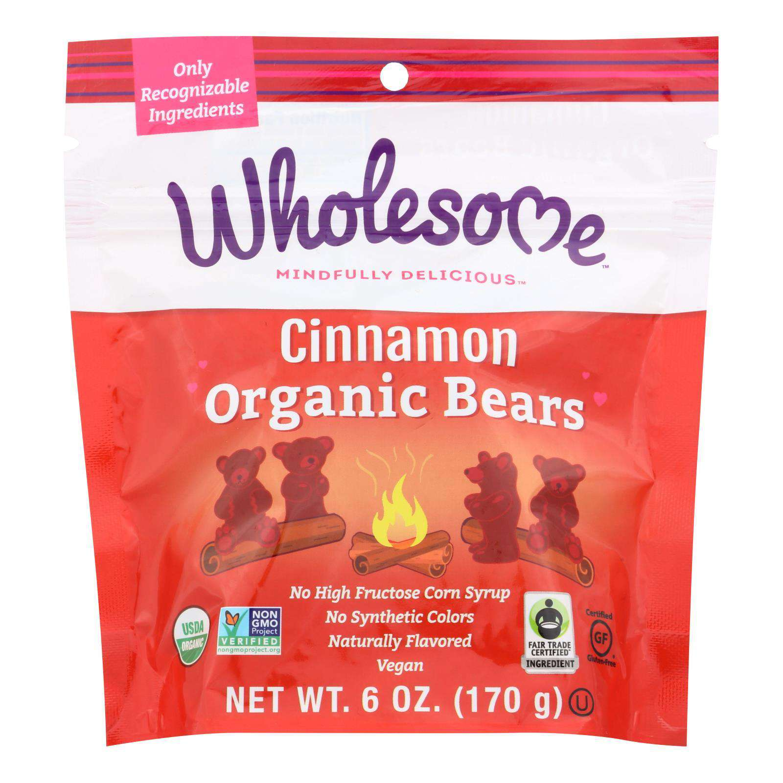 Wholesome! Candy - Organic - Cinnamon Bears - Case Of 6 - 6 Oz - BeeGreen