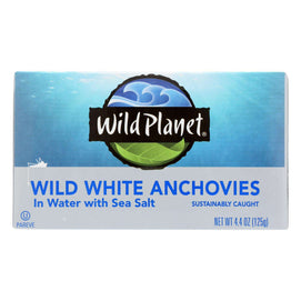 Wild Planet White Anchovies - In Water - Case Of 12 - 4.4 Oz - BeeGreen