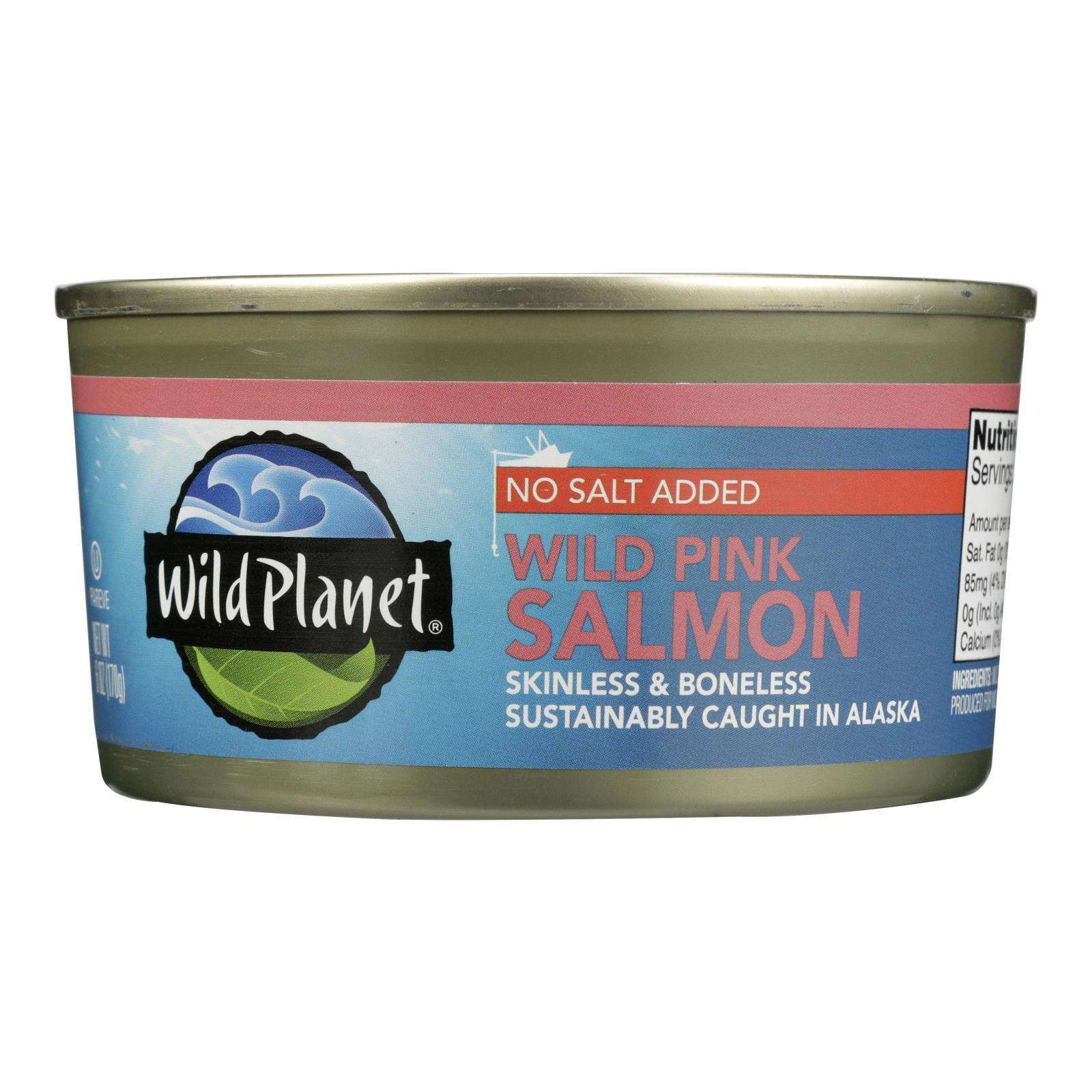 Wild Planet Wild Alaskan Pink Salmon - No Salt Added - Case Of 12 - 6 Oz. - BeeGreen