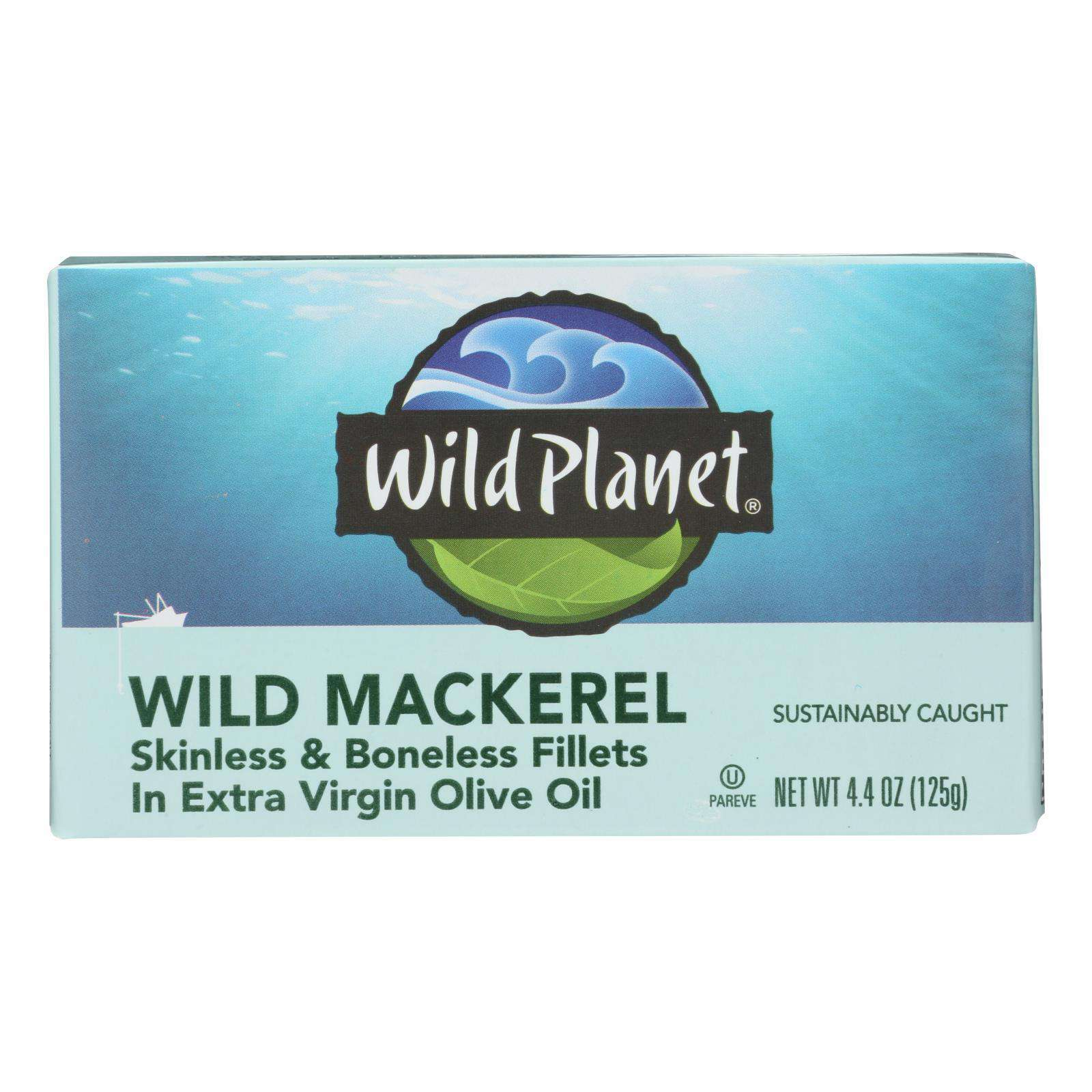Wild Planet Wild Mackerel Fillets In Extra Virgin Olive Oil - Case Of 12 - 4.375 Oz. - BeeGreen