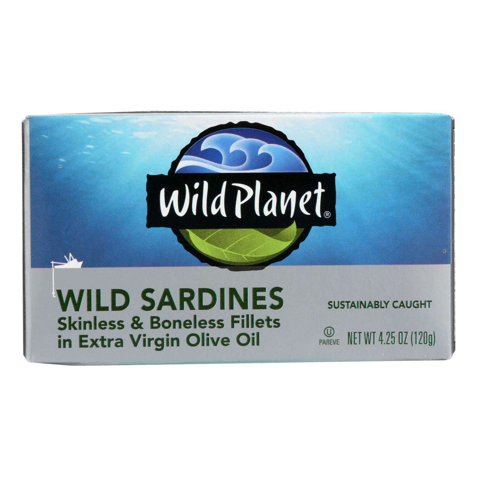 Wild Planet Wild Sardines - Skinless Boneless Fillets In Olive Oil - Case Of 12 - 4.25 Oz - BeeGreen