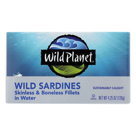 Wild Planet Wild Sardines - Skinless & Boneless Fillets In Water - Case Of 12 - 4.25 Oz - BeeGreen