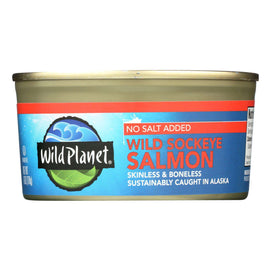 Wild Planet Wild Sockeye Salmon - No Salt Added - Case Of 12 - 6 Oz - BeeGreen