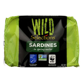 Wild Selections Sardines In Spring Water - Case Of 12 - 3.75 Oz - BeeGreen
