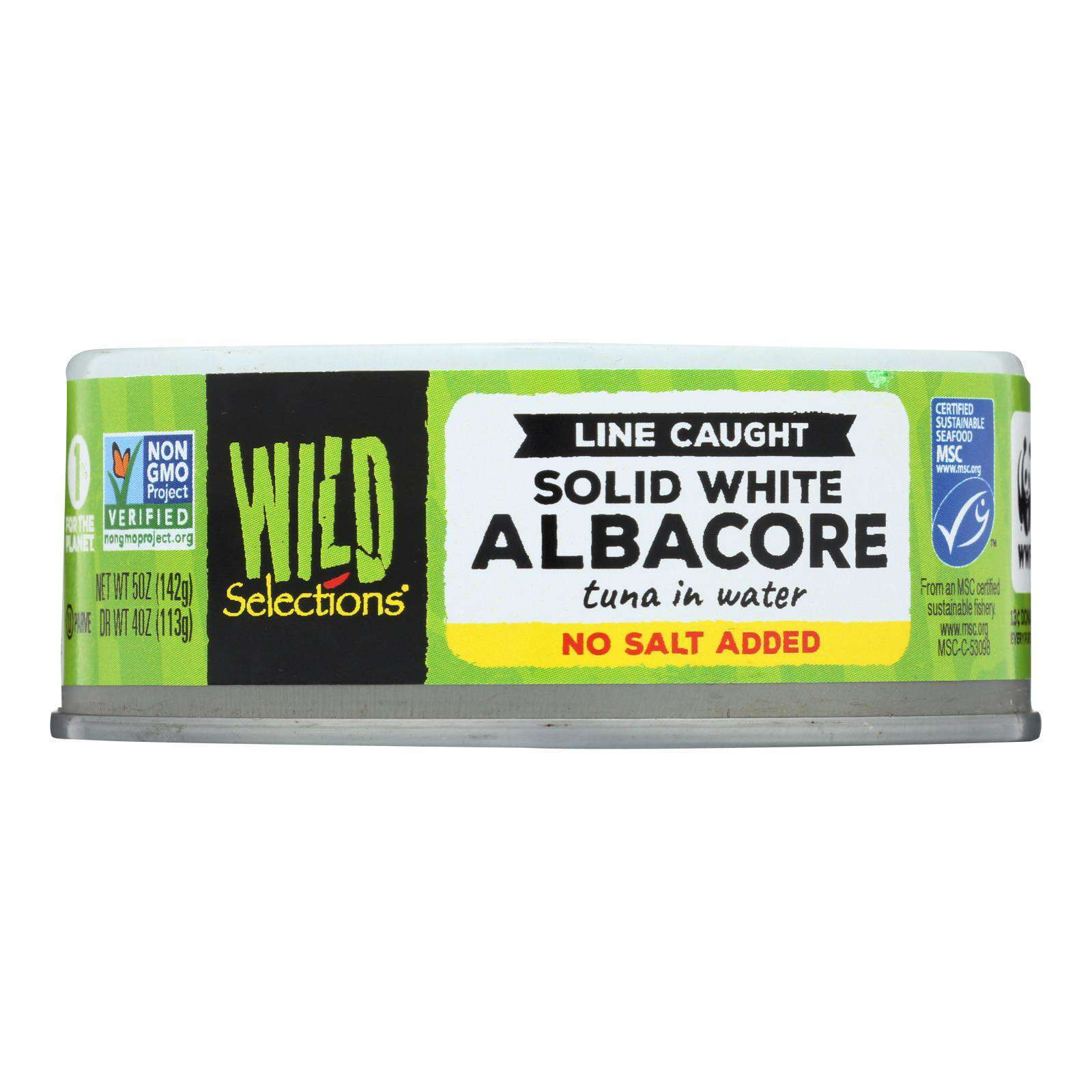 Wild Selections Solid White Albacore Tuna In Water - No Salt - Case Of 12 - 5 Oz. - BeeGreen