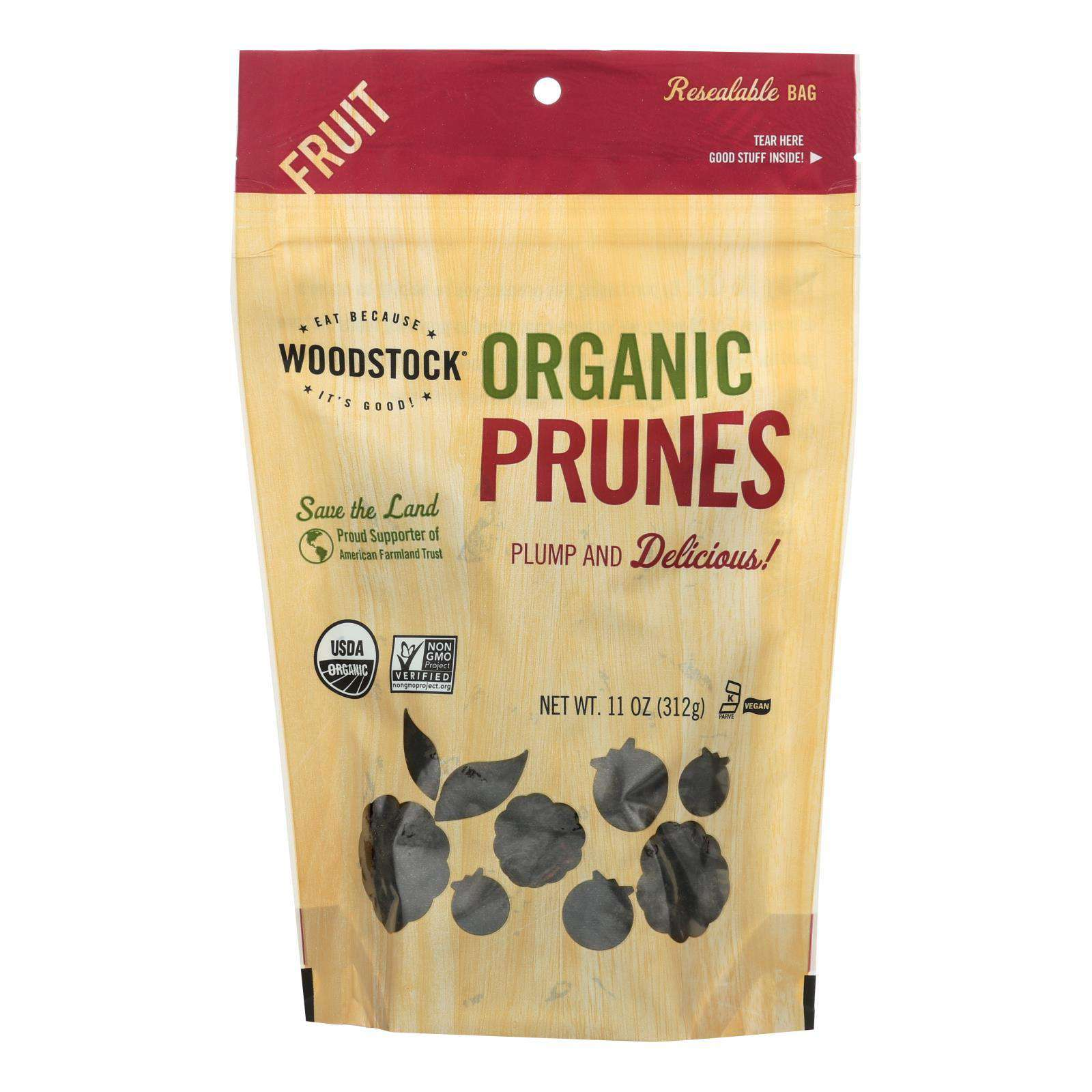 Woodstock Organic California Prunes - Pitted - Case Of 8 - 11 Oz. - BeeGreen