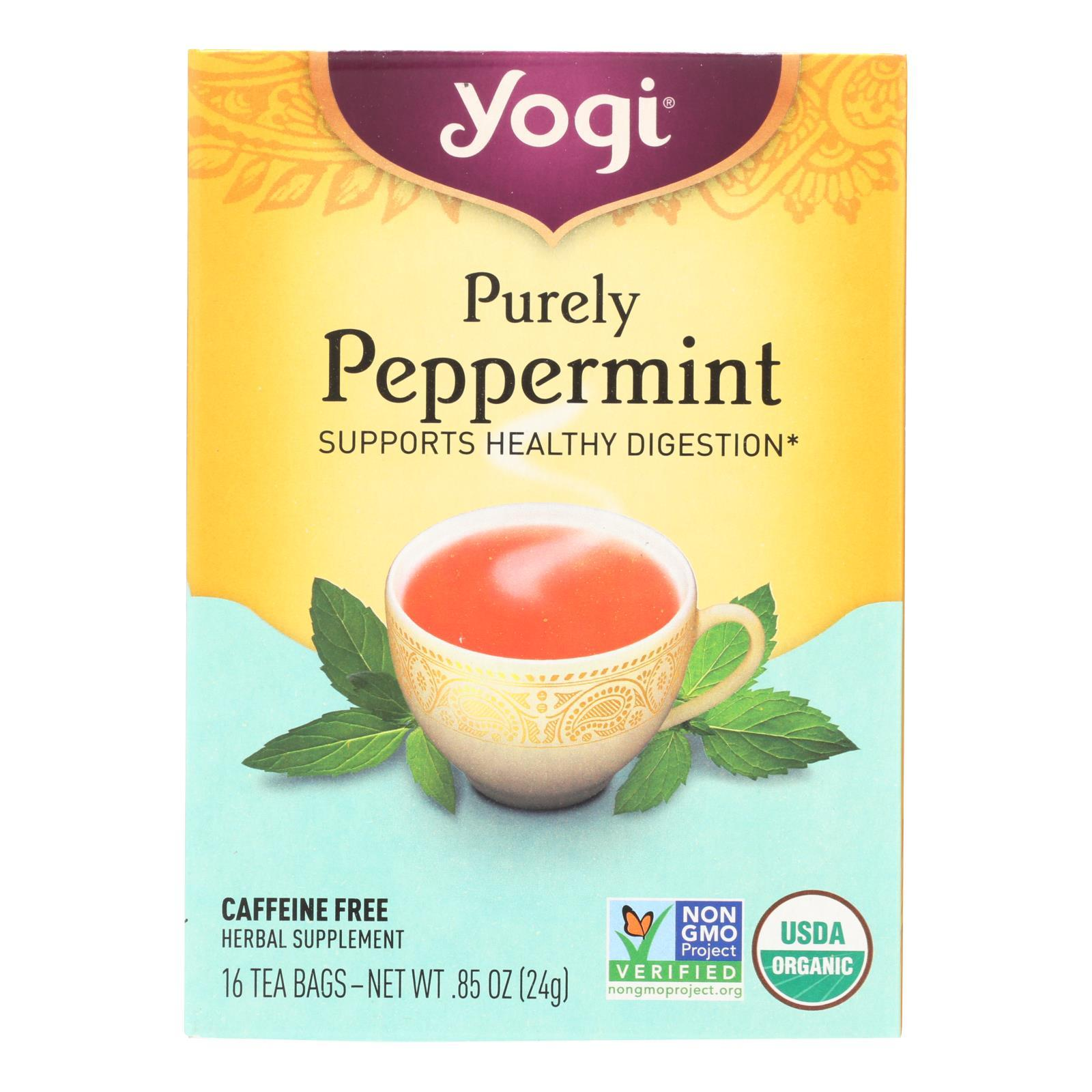 Yogi Organic Herbal Tea Caffeine Free Purely Peppermint - 16 Tea Bags - Case Of 6 - BeeGreen