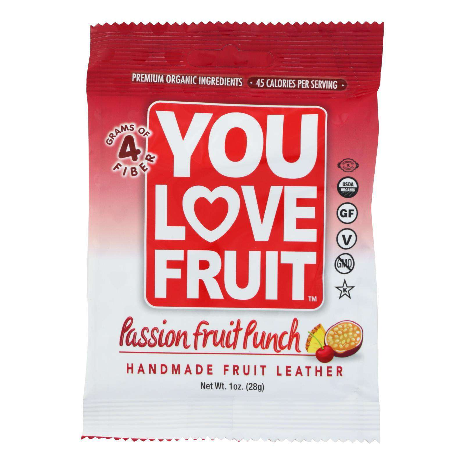 You Love Fruit - Organic Fruit Leather - Passion Fruit Punch - Case Of 12 - 1 Oz. - BeeGreen