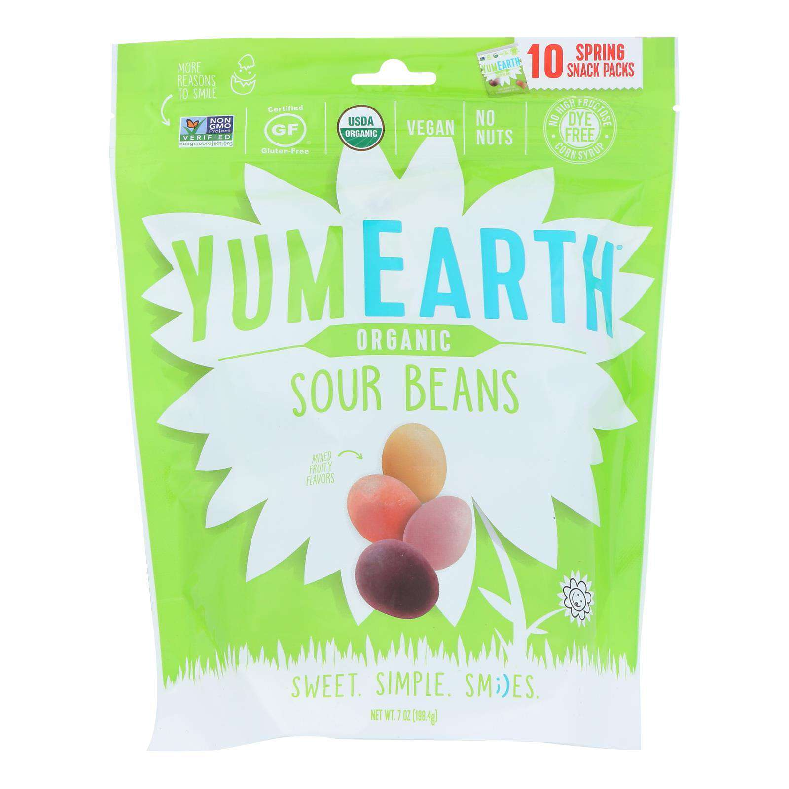 Yumearth - Candy Og2 Sour Beans - Cs Of 18-7 Oz - BeeGreen