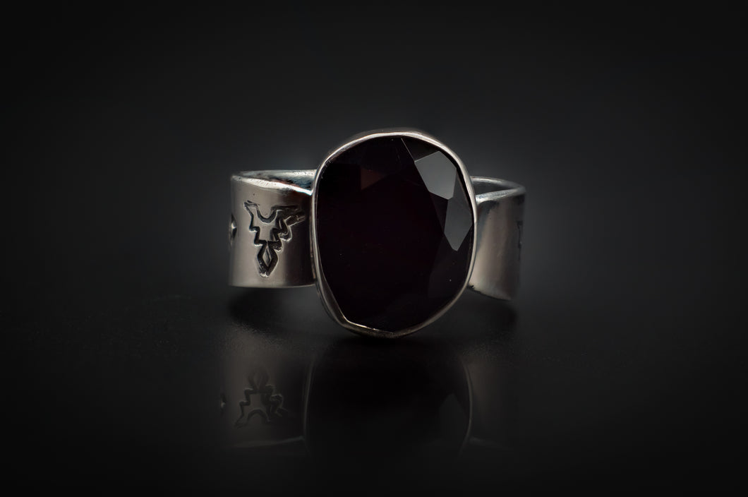 Authentic 925 Silver, Engraved, With Black Onyx Rose Cut Stone Ring