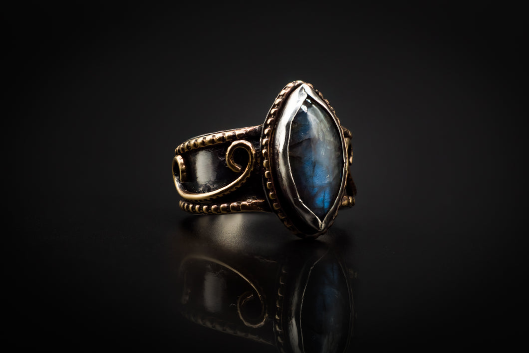 925 Silver, Golden Brass, And Brilliant Marquise Cut Blue Labradorite Ring