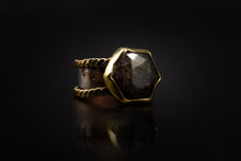Load image into Gallery viewer, Hammered Copper, 925 Silver, And Galaxy Labradorite Ring