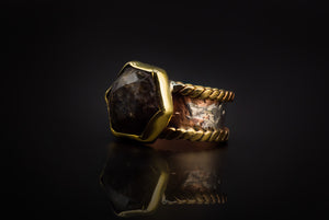 Hammered Copper, 925 Silver, And Galaxy Labradorite Ring