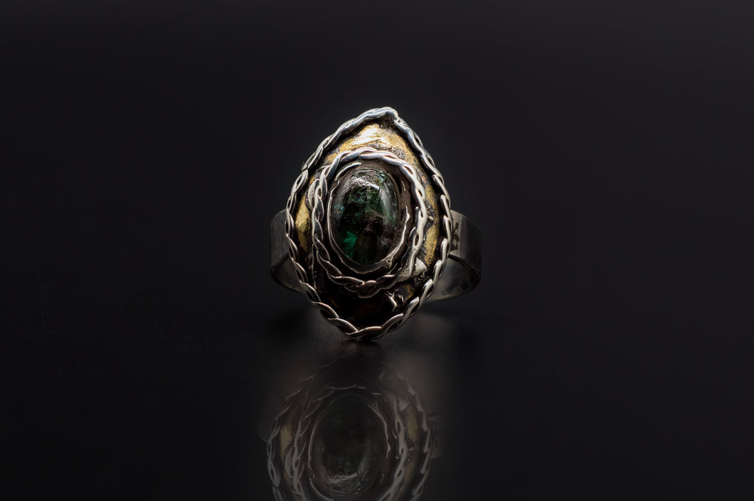 925 Silver, Golden Brass, And Authentic Natural Emerald Ring