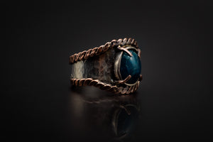 925 Silver, Copper Edges, Mysterious Apatite Stone Ring