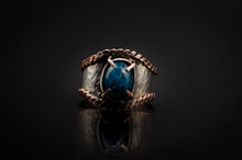 Load image into Gallery viewer, 925 Silver, Copper Edges, Mysterious Apatite Stone Ring