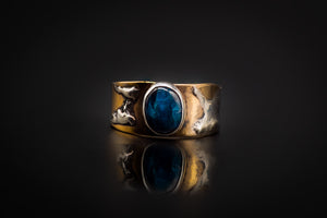 925 Silver, Bronze, Silver Blotched, Mysterious Apatite Stone Ring