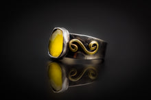 Load image into Gallery viewer, 925 Silver, Golden Brass, Precious Spectacular Rose Cut Yellow Onyx Ring