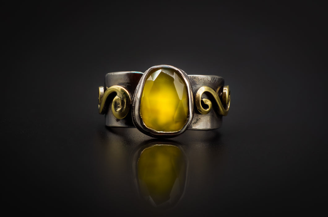 925 Silver, Golden Brass, Precious Spectacular Rose Cut Yellow Onyx Ring