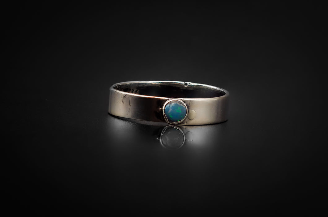 925 Silver With Pearl Blue Australian Opal Ring