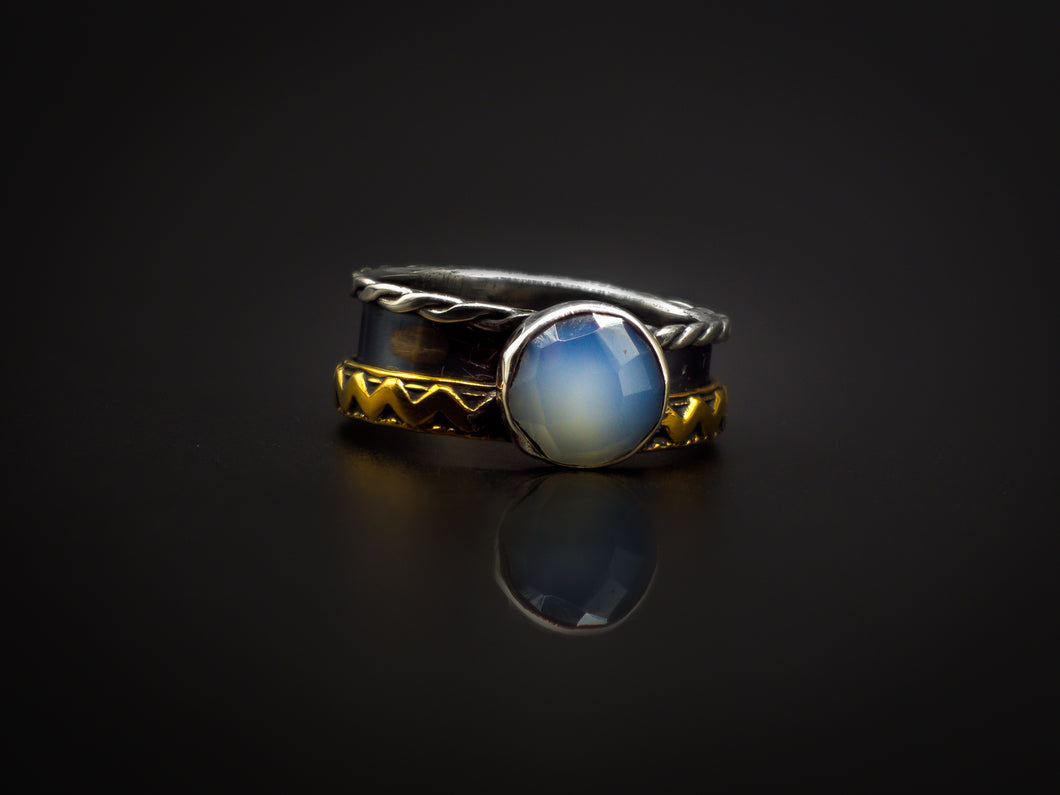 925 Silver, Golden Brass, And Rose Cut Aqua Chalcedony Triple Band Ring