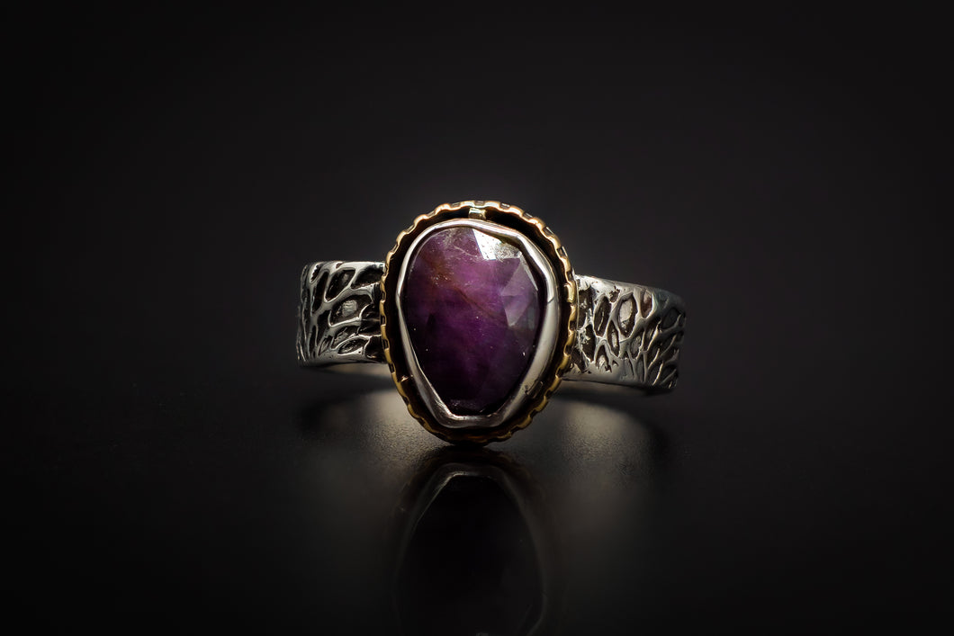99.9% Pure Silver, Hand Engraved, Golden Brass, and Rose Cut Deep Violet Ruby Ring
