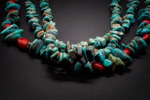 Turquoise, 925 Silver, Copper, Natural Red Stone, Navajo Style Necklace