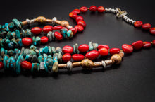 Load image into Gallery viewer, Turquoise, 925 Silver, Copper, Natural Red Stone, Navajo Style Necklace