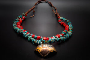 Turquoise, Natural Red Stone, 925 Silver, Golden Brass, Copper Heart Pendant, Leather Necklace