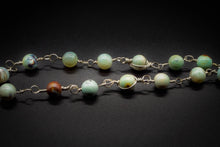 Load image into Gallery viewer, 925 Silver, Green Teal Aqua Fire Agate, Women Pendant, Beaded Necklace