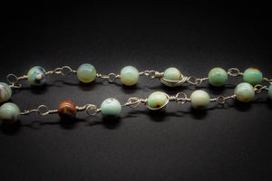 925 Silver, Green Teal Aqua Fire Agate, Women Pendant, Beaded Necklace