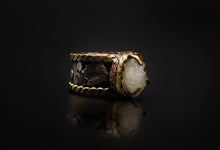 Load image into Gallery viewer, Copper, 925 Silver, Brass, And Natural Geode Ring