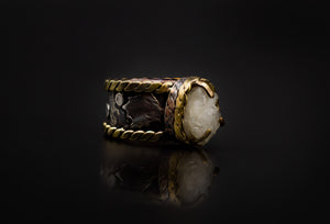 Copper, 925 Silver, Brass, And Natural Geode Ring