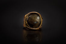 Load image into Gallery viewer, Bronze Ring, Engraved, With Beautiful Labradorite