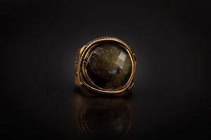 Bronze Ring, Engraved, With Beautiful Labradorite