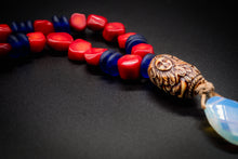 Load image into Gallery viewer, African Glass, Natural Red Stone, Hand Engraved Bone, Natural Opal Necklace