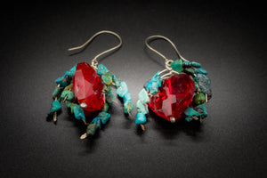 925 And 935 Silver, Turquoise, Red Crystal Heart Earrings