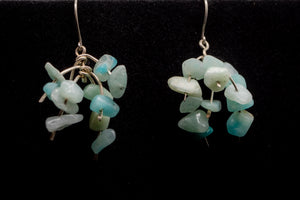 925 And 935 Silver, Green Teal Amazonite Earrings