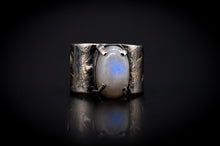 Load image into Gallery viewer, 925 Silver, 14KT Gold, and Blue Fire Rainbow Moonstone