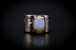 925 Silver, 14KT Gold, and Blue Fire Rainbow Moonstone